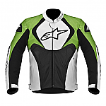 Alpinestars Jaws Perforated Leather Jacket Black / White / Green