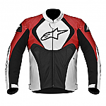 Alpinestars Jaws Perforated Leather Jacket Black / White / Red